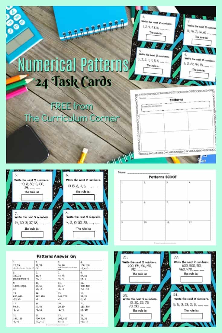 FREE Numerical Patterns Task Cards from The Curriculum Corner