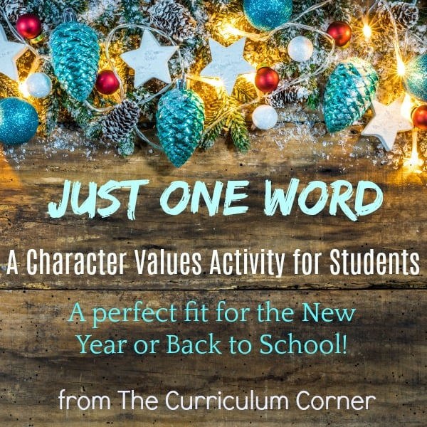 Just One Word Values Activity