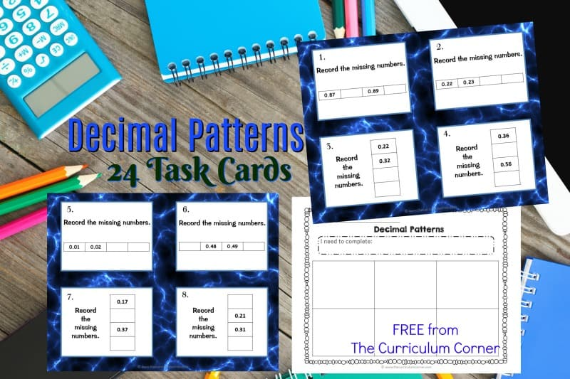 Use these free decimal patterns task cards for a math center activity or as a SCOOT game in your math classroom.