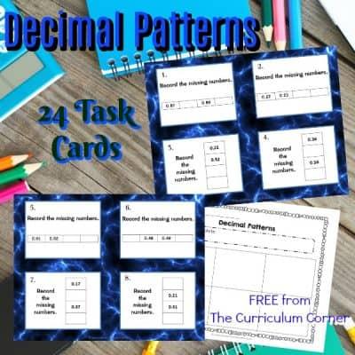 Decimal Patterns Task Cards