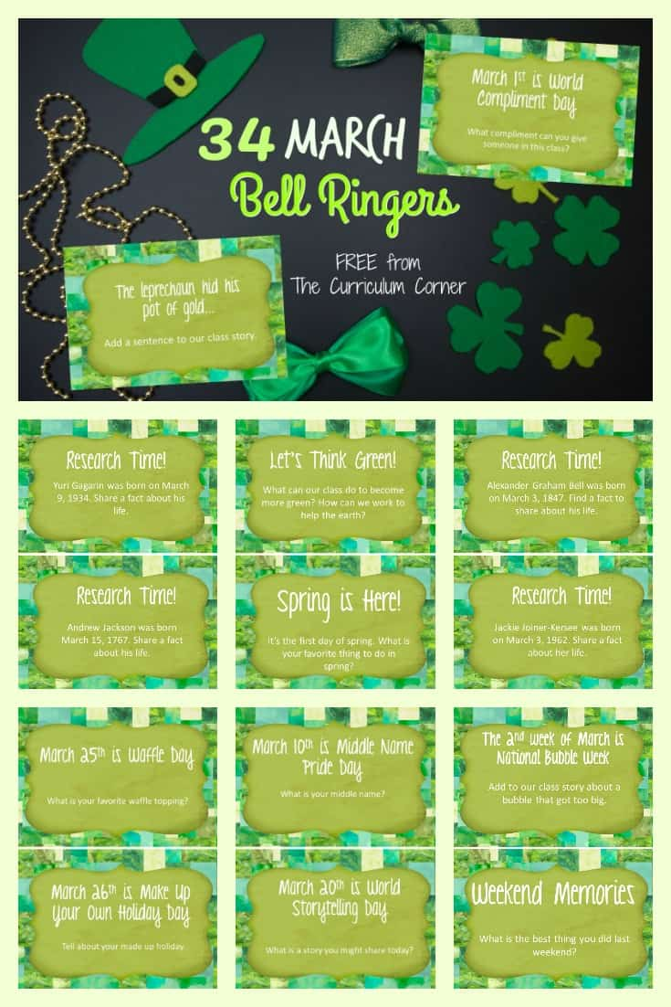 This collection of March bell ringers has been created to help you create a simple and engaging morning routine. 3