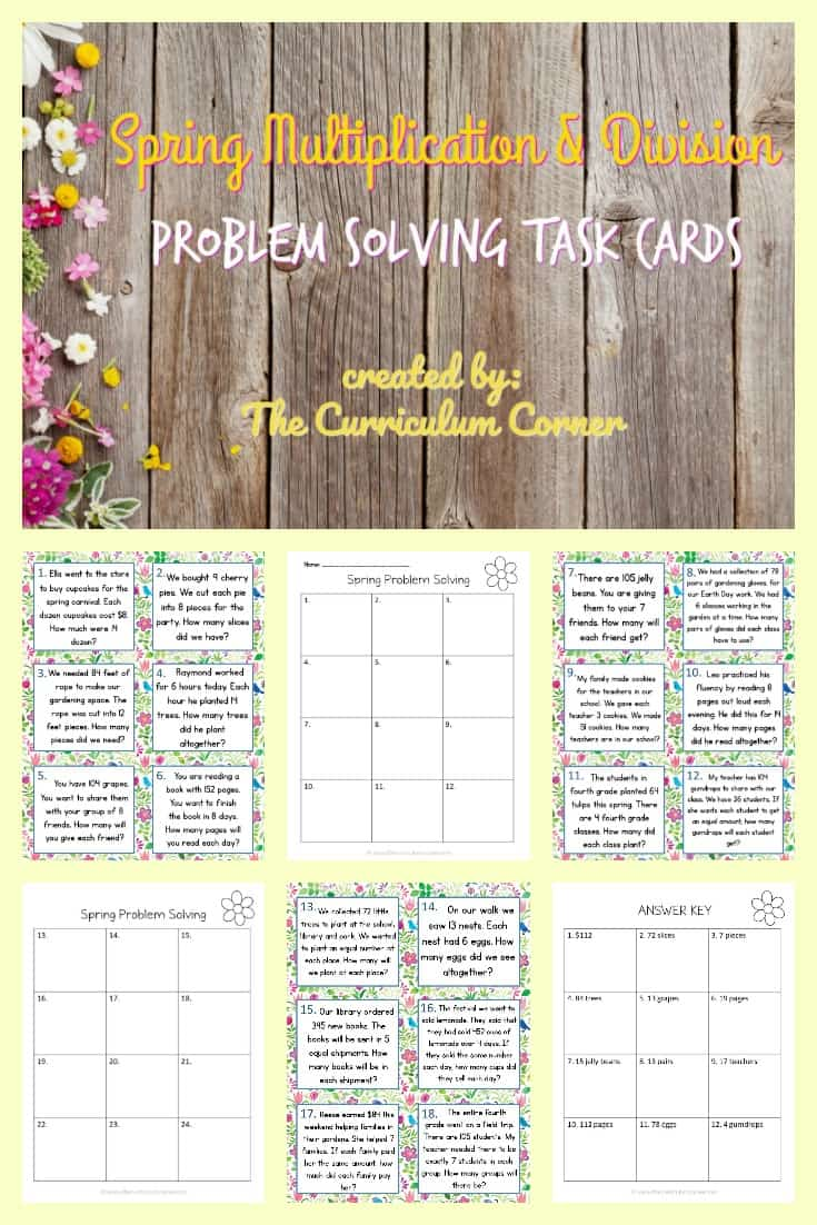 FREE Spring Math Problem Solving Multiplication & Division from The Curriculum Corner 2