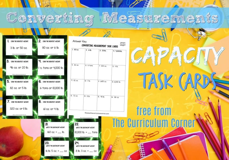 This collection of 32 converting capacity task cards will give your students practice with fifth grade math skills.