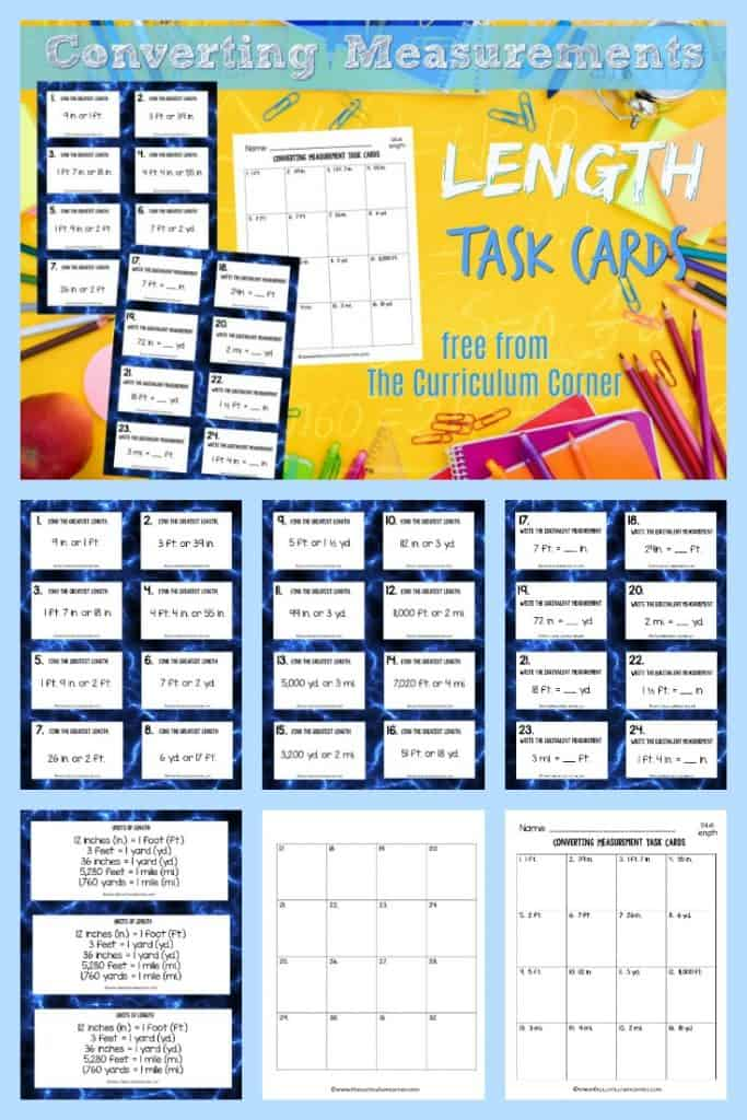 This collection of 32 converting length task cards will give your students practice with fifth grade math skills. 3