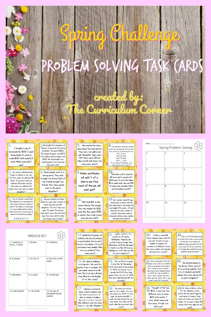 Spring Challenge Problem Solving Cards FREE from The Curriculum Corner