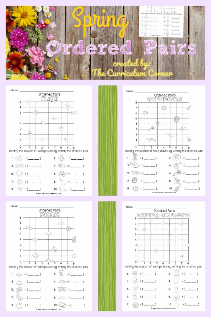 FREE Spring Ordered Pairs from The Curriculum Corner 2