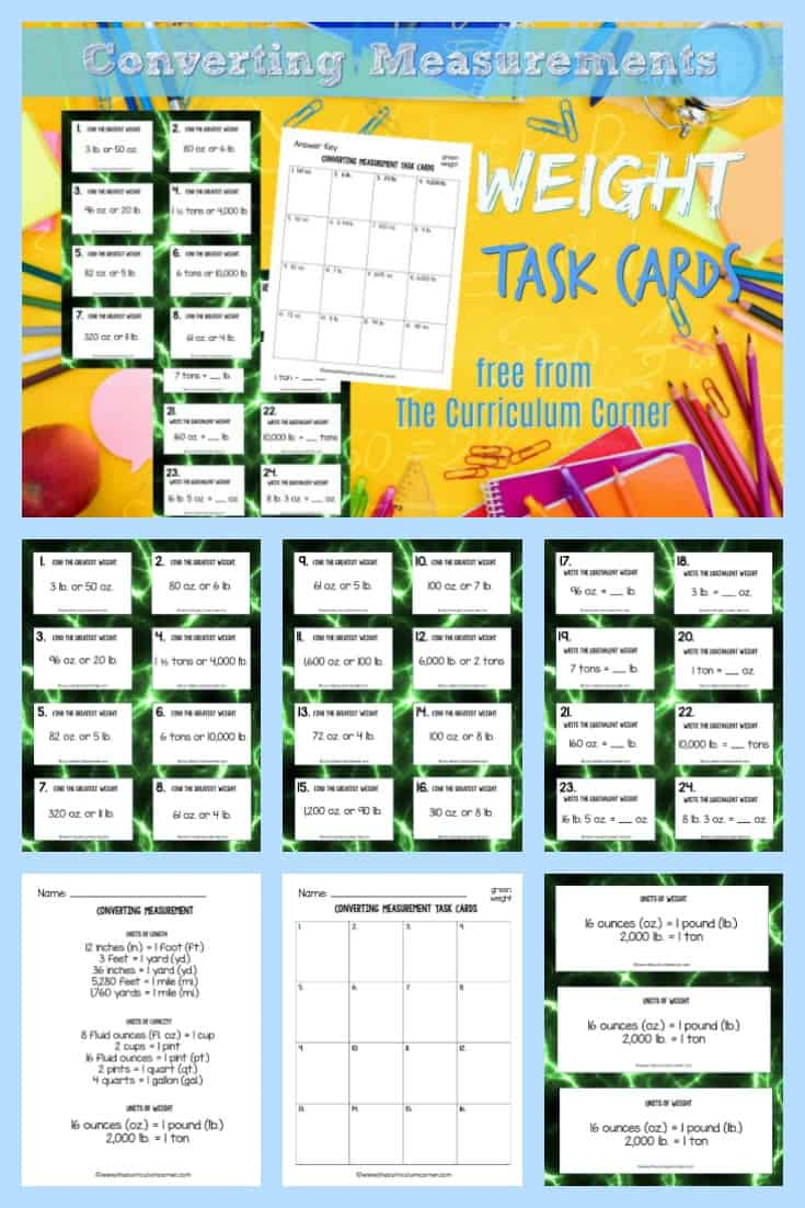 This collection of 32 converting weight task cards will give your students practice with fifth grade math skills. 2