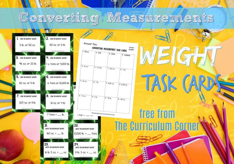 This collection of 32 converting weight task cards will give your students practice with fifth grade math skills.