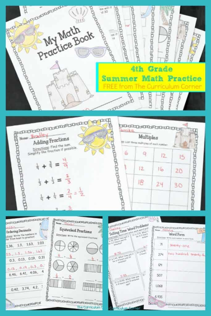 FREE 4th Grade Summer Math Practice Booklet 2