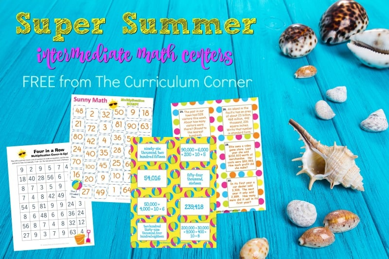 This Super Summer Intermediate Math Centers Set is designed for summer themed math practice in intermediate classrooms. Free & perfect for some of your end of year math centers!