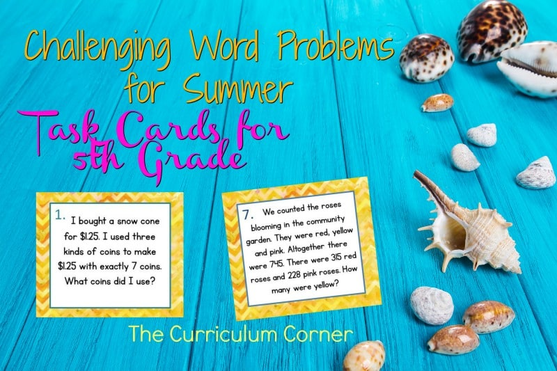 These challenging summer problem solving task cards are geared towards intermediate classrooms FREE from The Curriculum Corner.