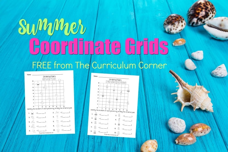 These summer ordered pairs have been created as an engaging, free printable math activity for your classroom (coordinate grids.)