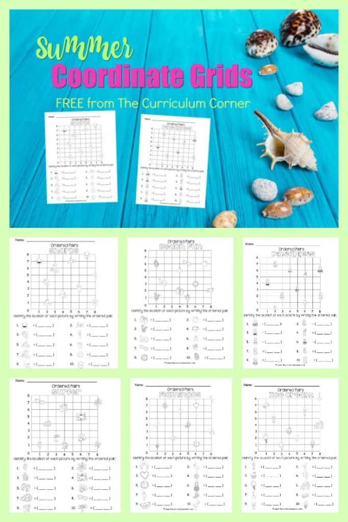 FREE Summer Coordinate Grid Pages from The Curriculum Corner