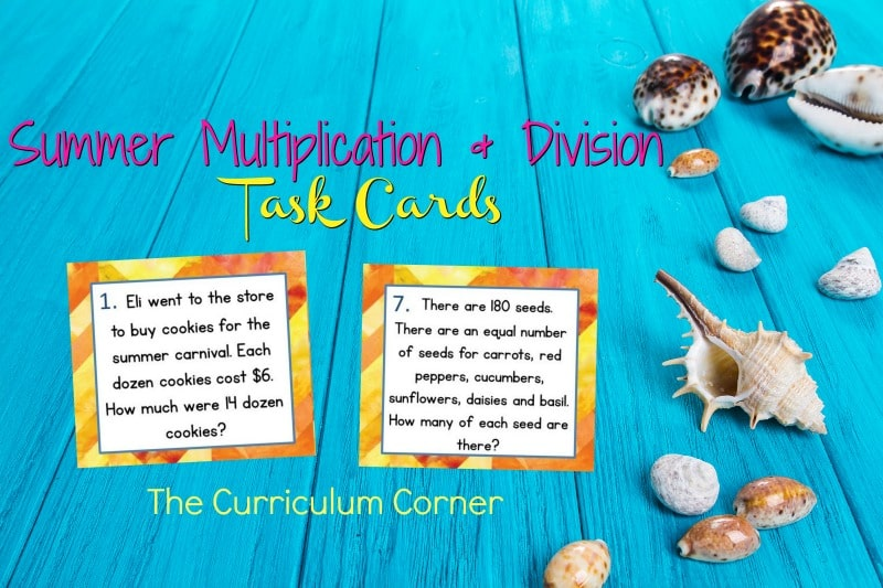 These summer problem solving task cards are designed to give your fourth grade math students extra practice with word problems.