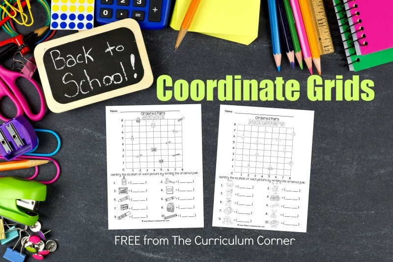These back to school ordered pairs have been created as an engaging, free printable math activity for your classroom (coordinate grids.)