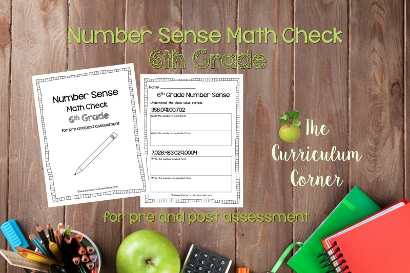 This 6th Grade Number Sense Math Check is designed to be a pre and post assessment for number sense standards in your math classroom.