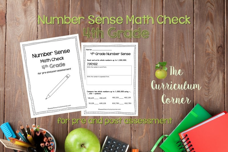 This 4th Grade Number Sense Math Check is designed to be a pre and post assessment for number sense standards in your math classroom.