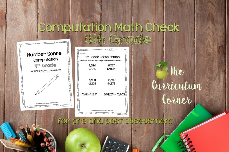 This 4th Grade Computation Math Check is designed to be a pre and post assessment for computation standards in your math classroom.