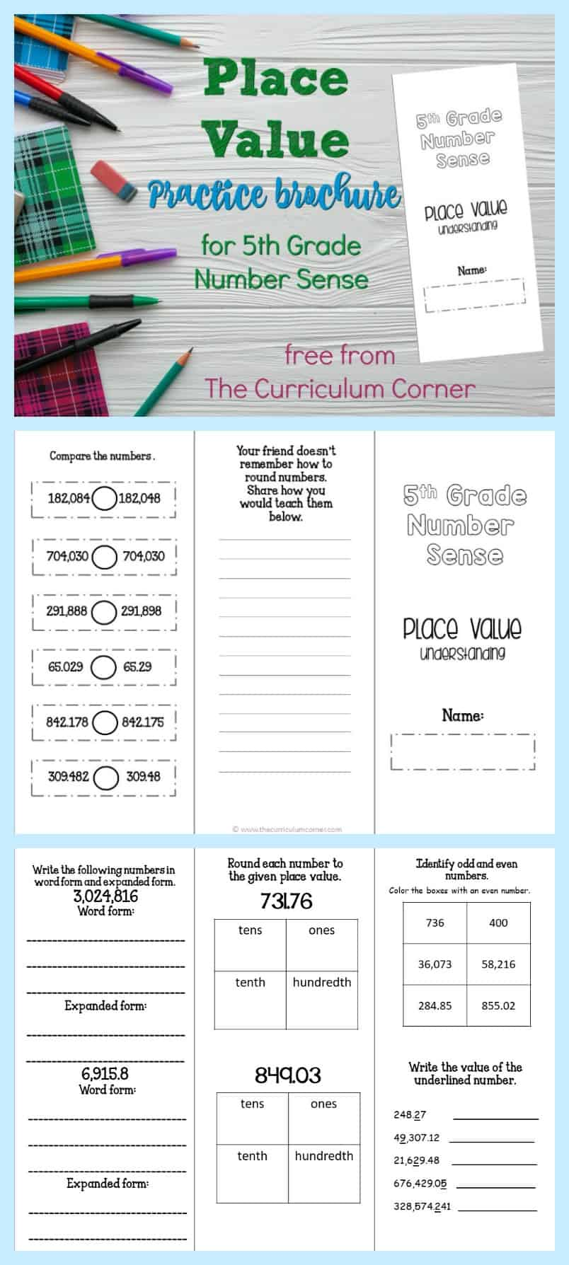 This brochure provides ready to go practice for fifth grade place value - it addresses fifth grade concepts.