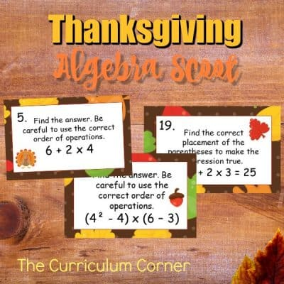 Thanksgiving Algebra Scoot Game