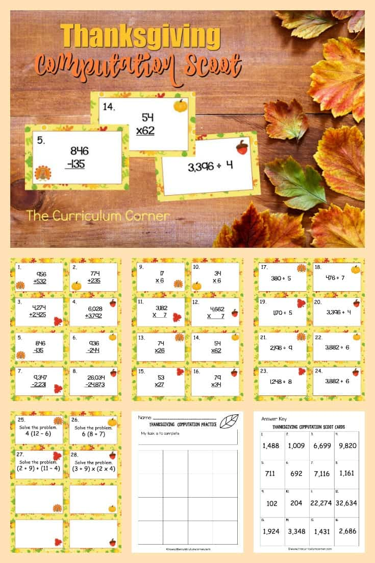 This free Thanksgiving Computation Scoot game is great for practice or review this fall in your fourth or fifth grade classroom!