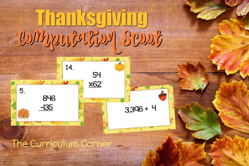 This Thanksgiving Computation Scoot game is great for practice or review this fall in your fourth or fifth grade classroom!