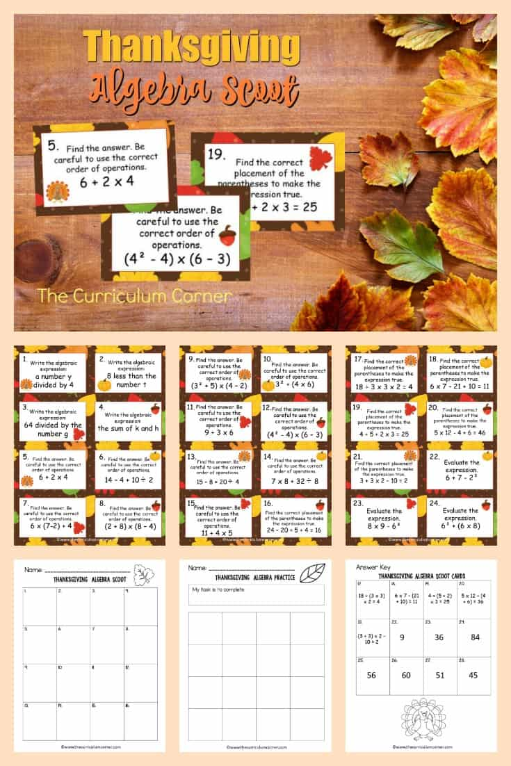 This free Thanksgiving Algebra Scoot game from The Curriculum Corner is great for practice or review this fall in your fifth or sixth grade classroom!