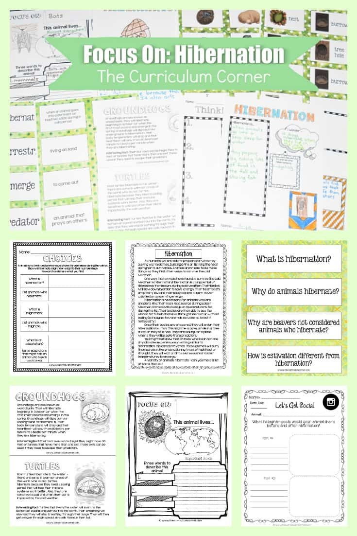 These free hibernation materials have been created to help teachers work with their fourth and fifth grade science students. Free literacy centers, reading passages, graphic organizers and more.