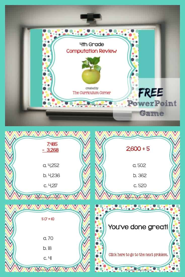 This 4th Grade Computation Review Game is designed to give your students practice with fourth grade standards throughout your unit of study.