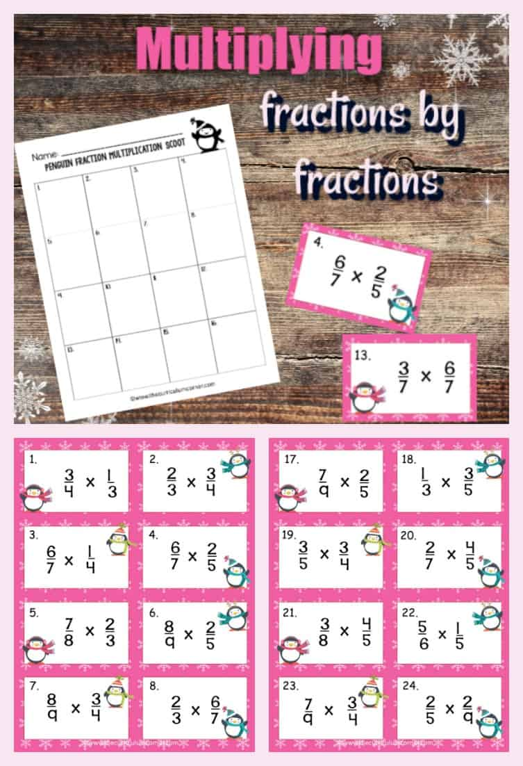 This Penguin Multiplying Fractions Scoot Game #2 (multiplying fractions by fractions) gives your students practice with multiplication of two fractions.