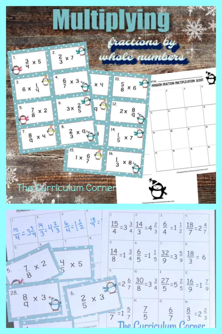 This Penguin Multiplying Fractions Scoot game (multiplying whole numbers by fractions) is great for practice or review this winter in your fourth or fifth grade classroom!