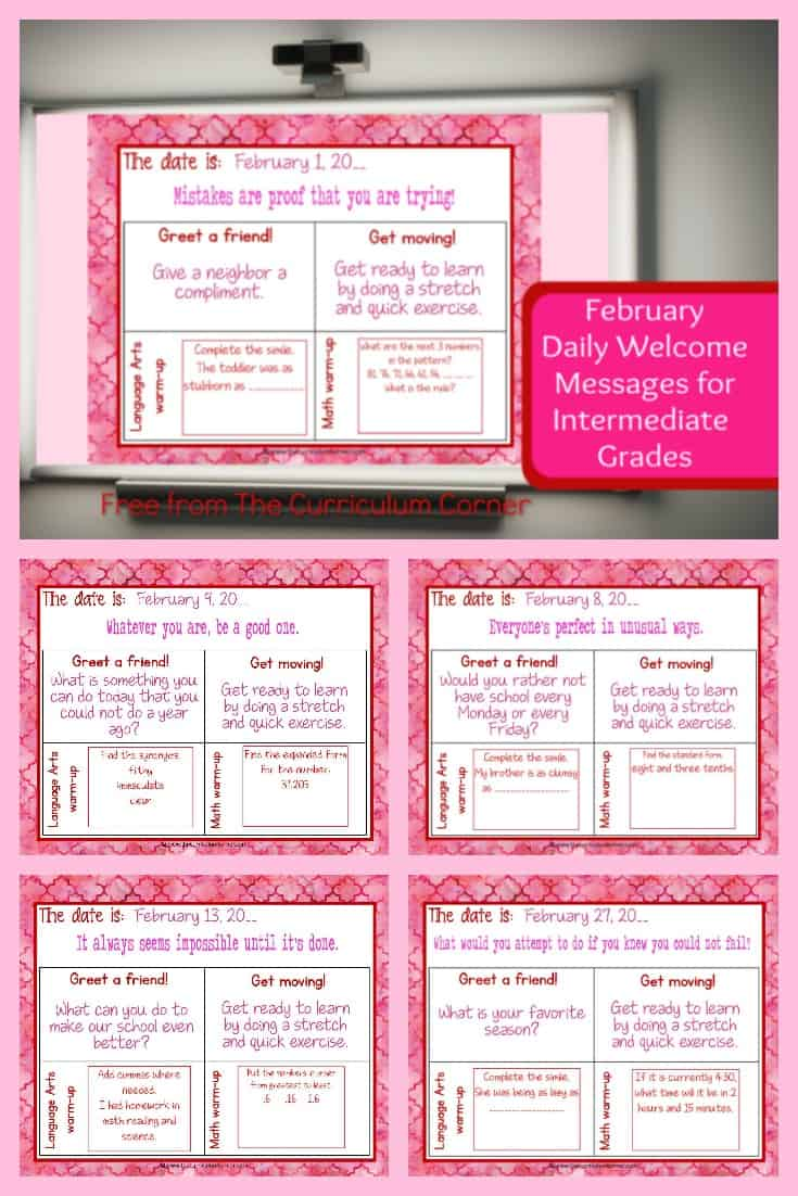 This set of free and editable Intermediate February Daily Welcome Messages is an easy way to get your students to enter the classroom and focus on the day ahead.