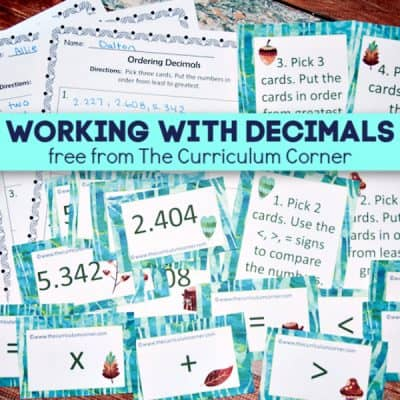 Working with Decimals Cards & Activities