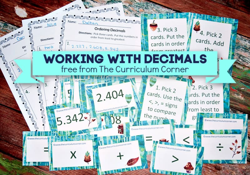 This free collection contains a large set of decimal cards with printable activities to help you create a rotating decimal center.