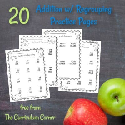Addition w/ Regrouping Practice Pages