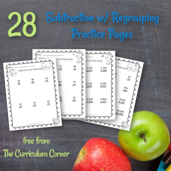 Subtraction w/ Regrouping Practice Pages