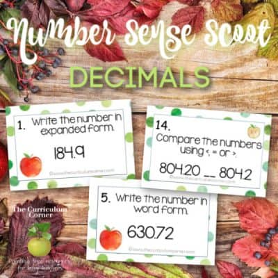 Number Sense Scoot: Decimals