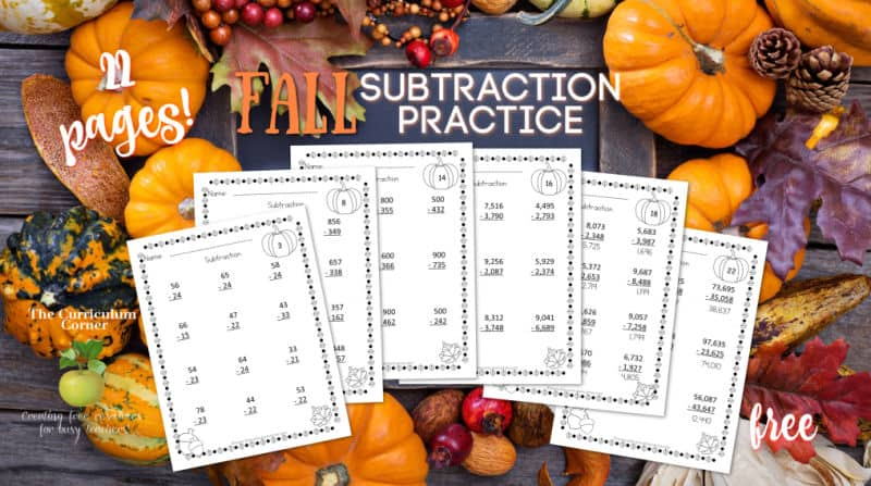 fall subtraction pages
