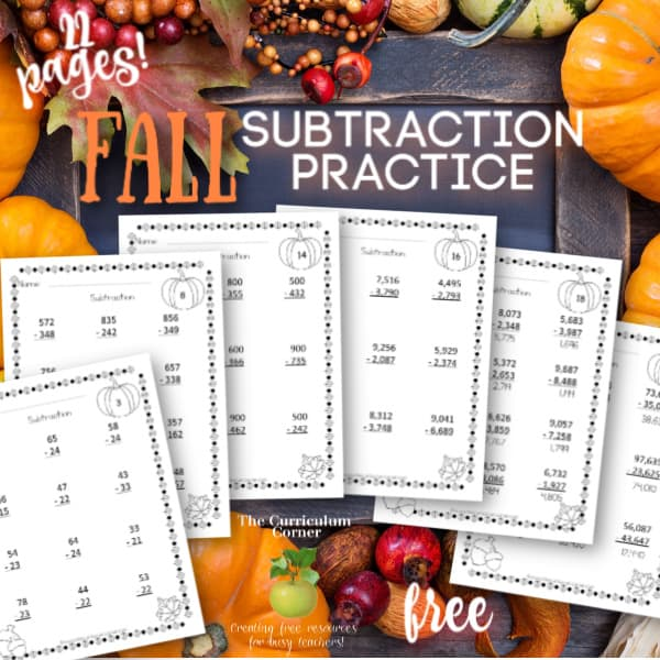 Computation Pages: Fall Subtraction
