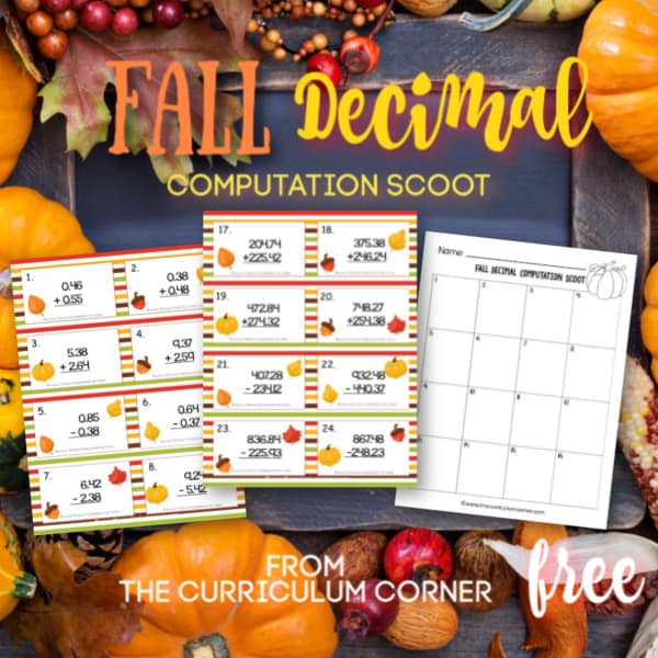 Fall Decimal Computation Scoot