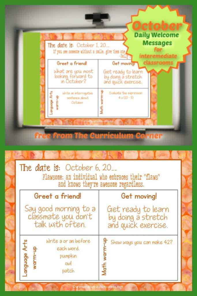 October Daily Welcome Messages - The Curriculum Corner 4-5-6