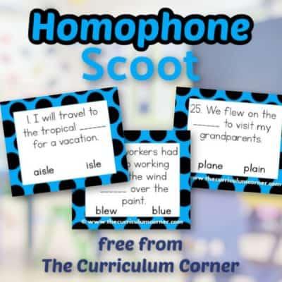 Homophones Scoot Game