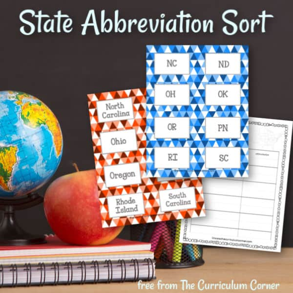 State Abbreviations Card Sort