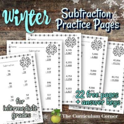 Computation Pages: Winter Subtraction