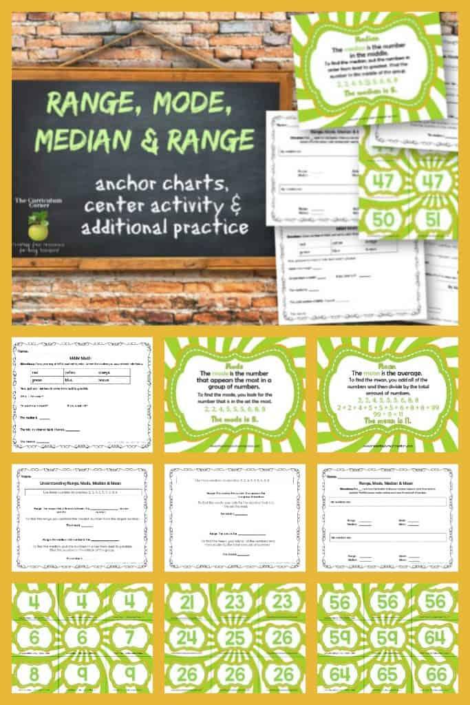 range, median, mode and mean