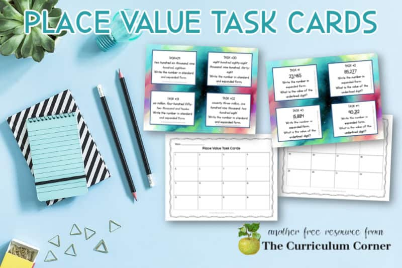 Free Place Value Task Cards for 4th and 5th Grades