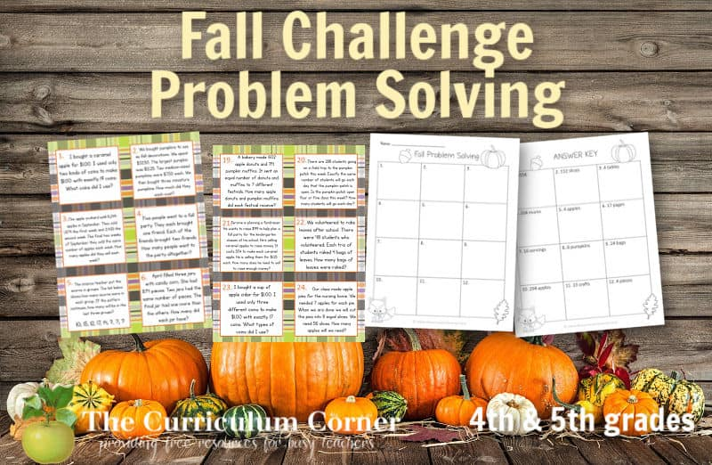 These challenging fall problem solving task cards are geared towards intermediate classrooms.