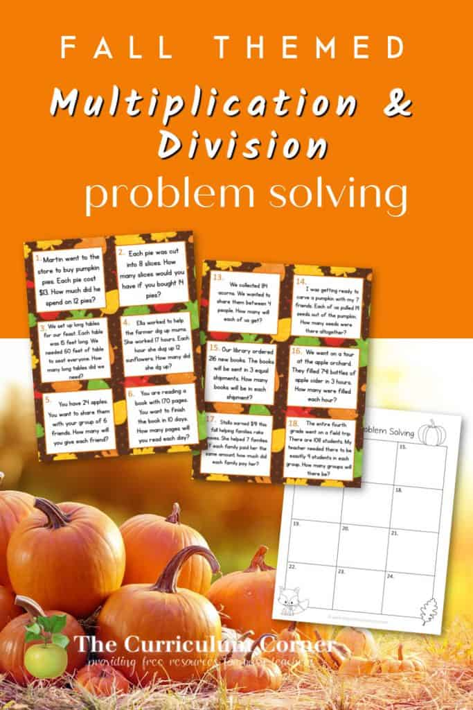 These fall multiplication word problems and fall division problems are designed to give your fourth grade math students extra practice.