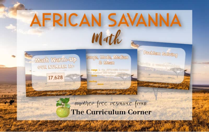 Virtual sub plans - African savanna math practice