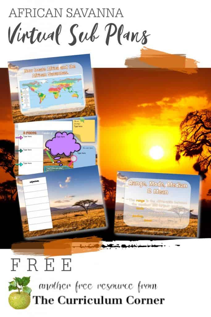 These African Savanna Virtual Sub Plans will help you create your own sub plans for your distance learning.